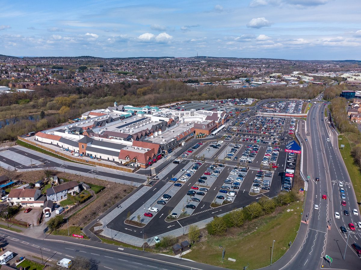 An aerial shot of the McArthurGlen West Midlands designer outlet which has opened in Cannock. Photo: Paul Turner/facebook.com/ptaerialphotography/