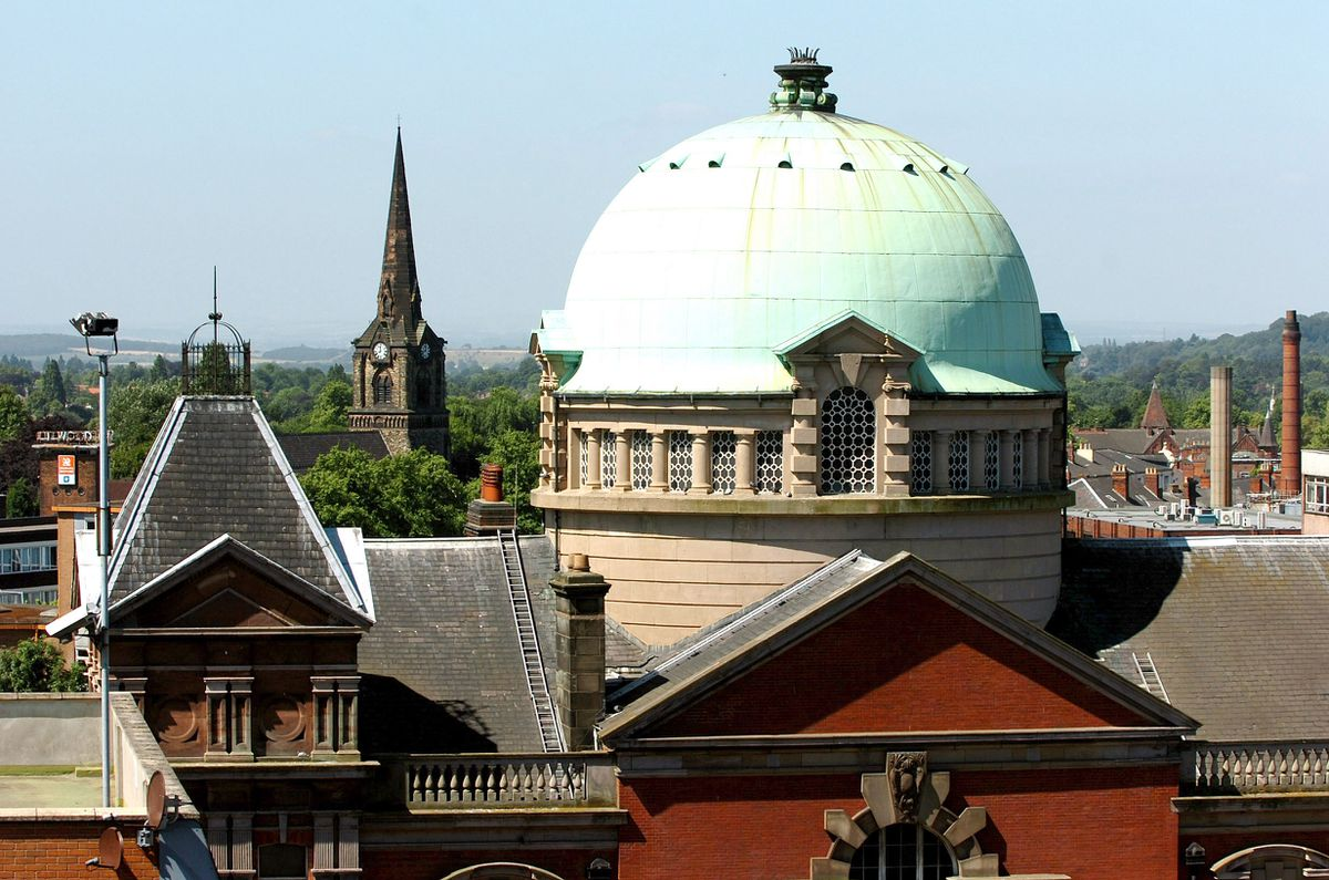 Darlington Street Methodist Church, viewed from the roof of Beatties in 2007
