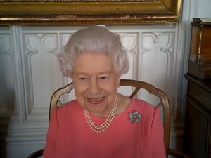 The Queen speaking on a video call