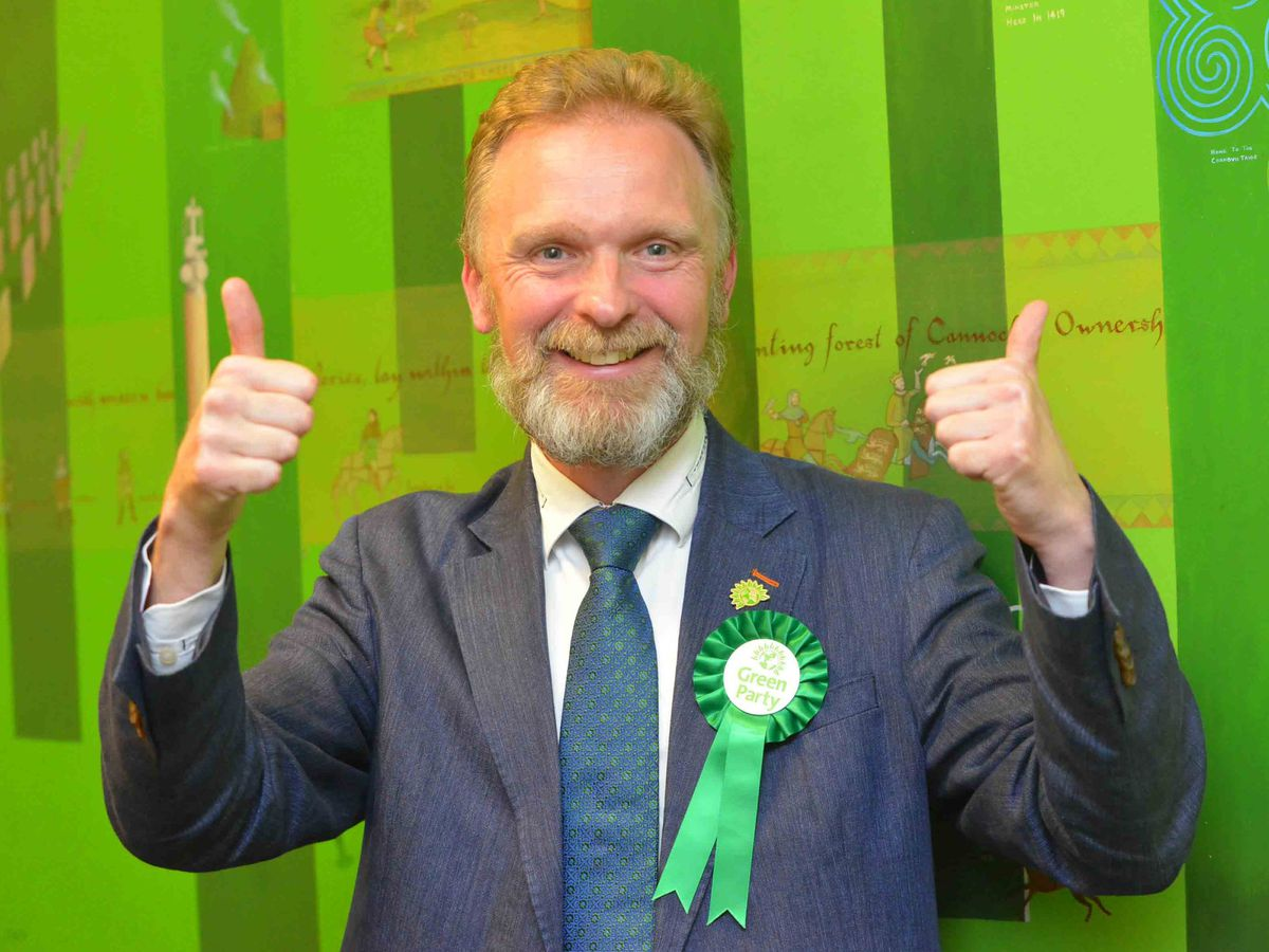 Paul Woodhead, leader of the Greens in Cannock, gives two big thumbs up