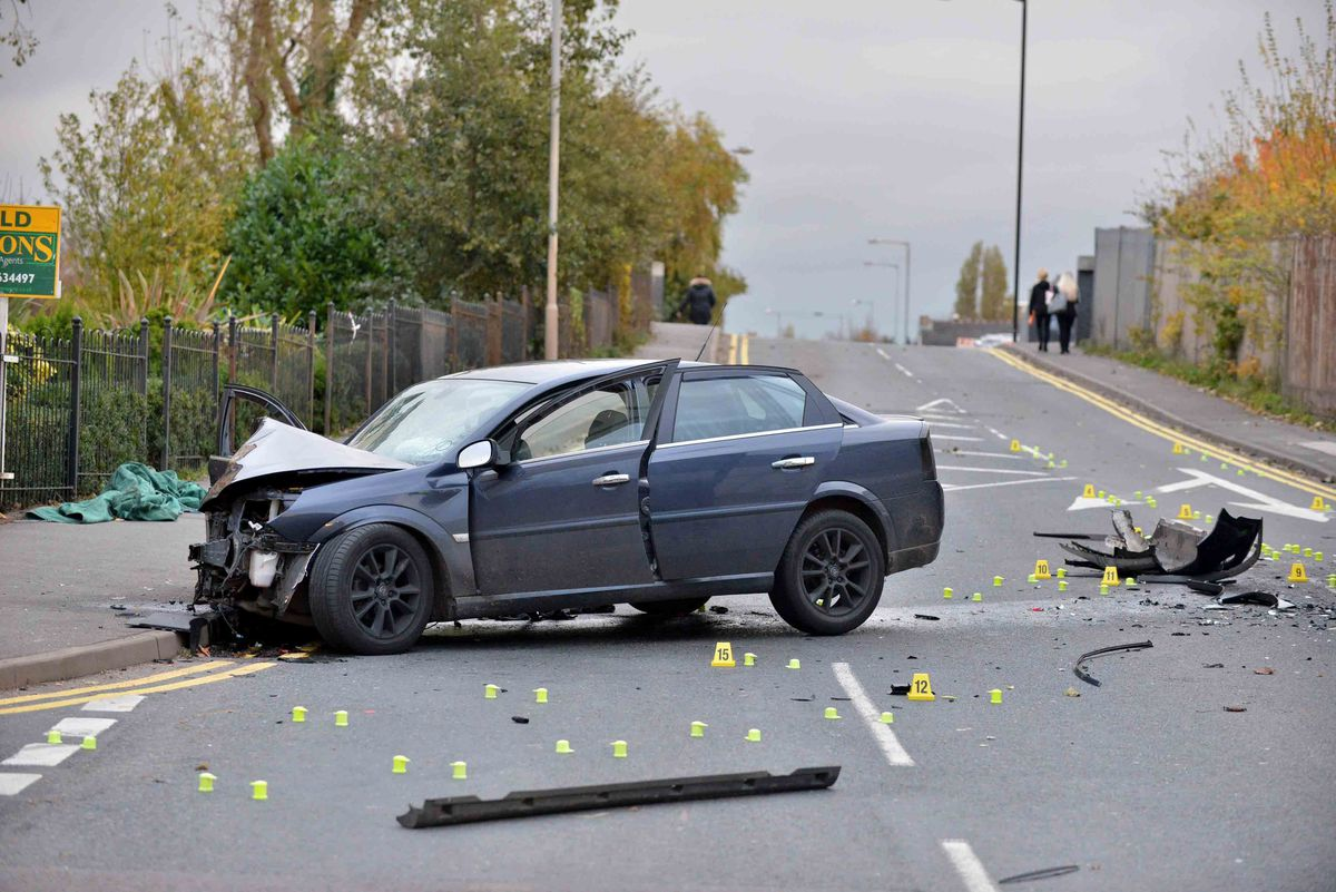 Debris was left scattered across the road in the aftermath of the crash