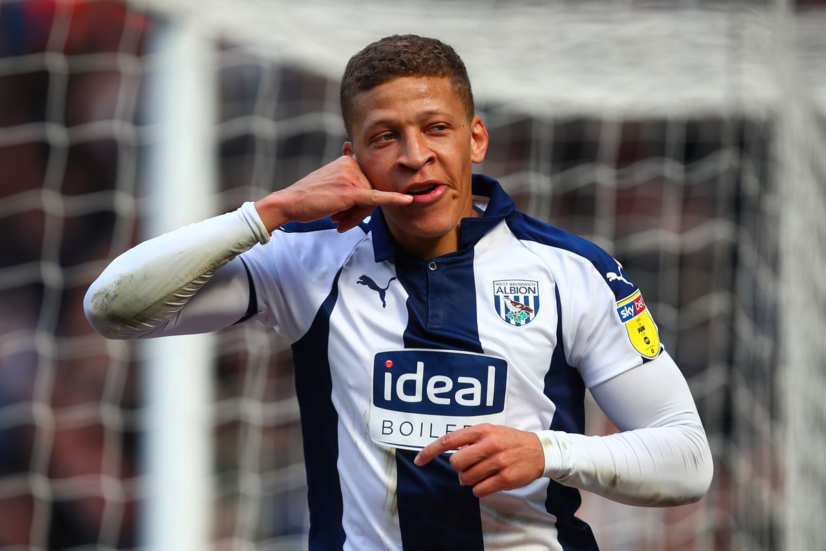 Dwight Gayle of West Bromwich Albion celebrates after scoring a goal to make it 2-0.