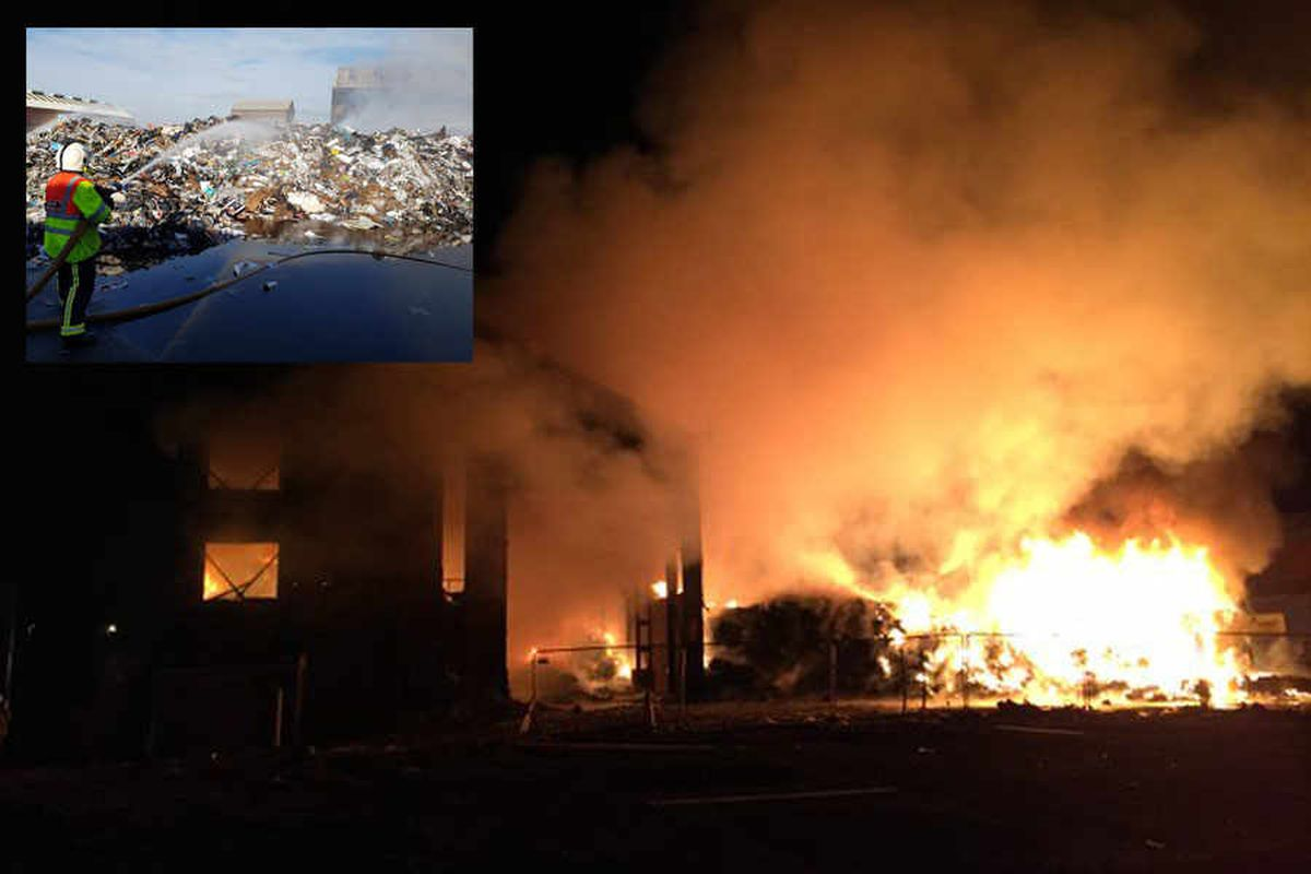 IN PICTURES and VIDEO: 80 firefighters battle huge Oldbury recycling plant blaze