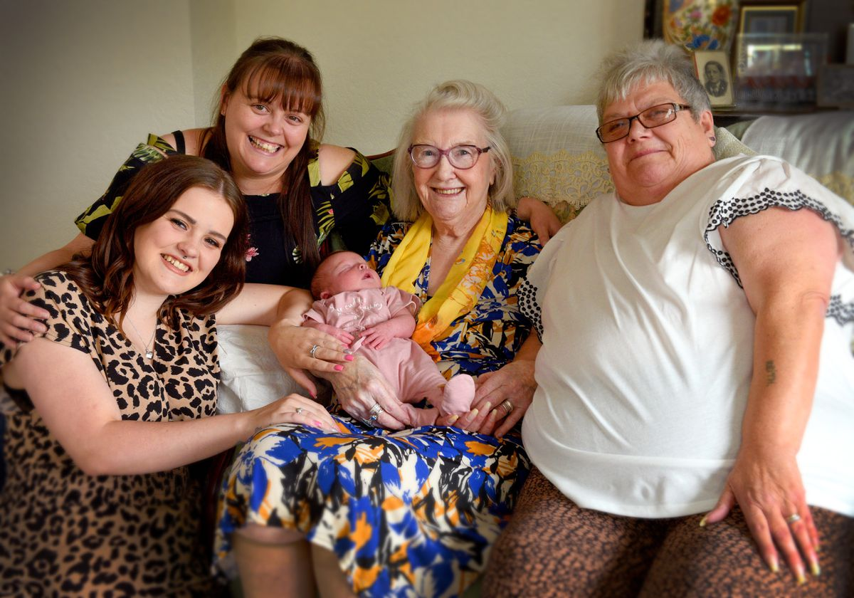 Great-great-grandmother Doreen Holt holds Elsie-Mai, with Jill Borton, Nicola Smith and Elsie-Mai's mother Jodie