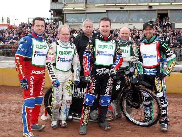 Troy Pratt, Andy Grahame, Colin Pratt, Billy Hamill Alan Grahame and Greg Hancock (Photo: Jonathan Hipkiss)