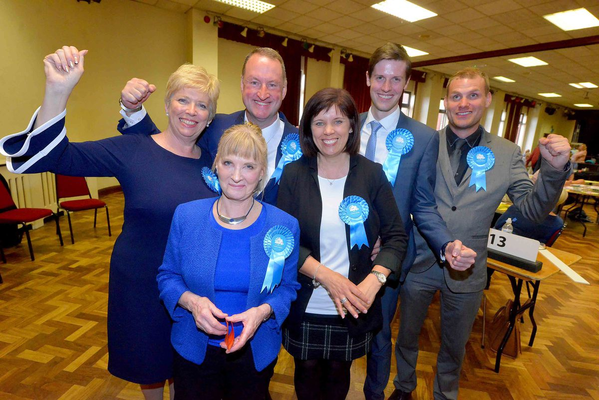 All smiles for these successful Conservative candidates in Cannock Chase