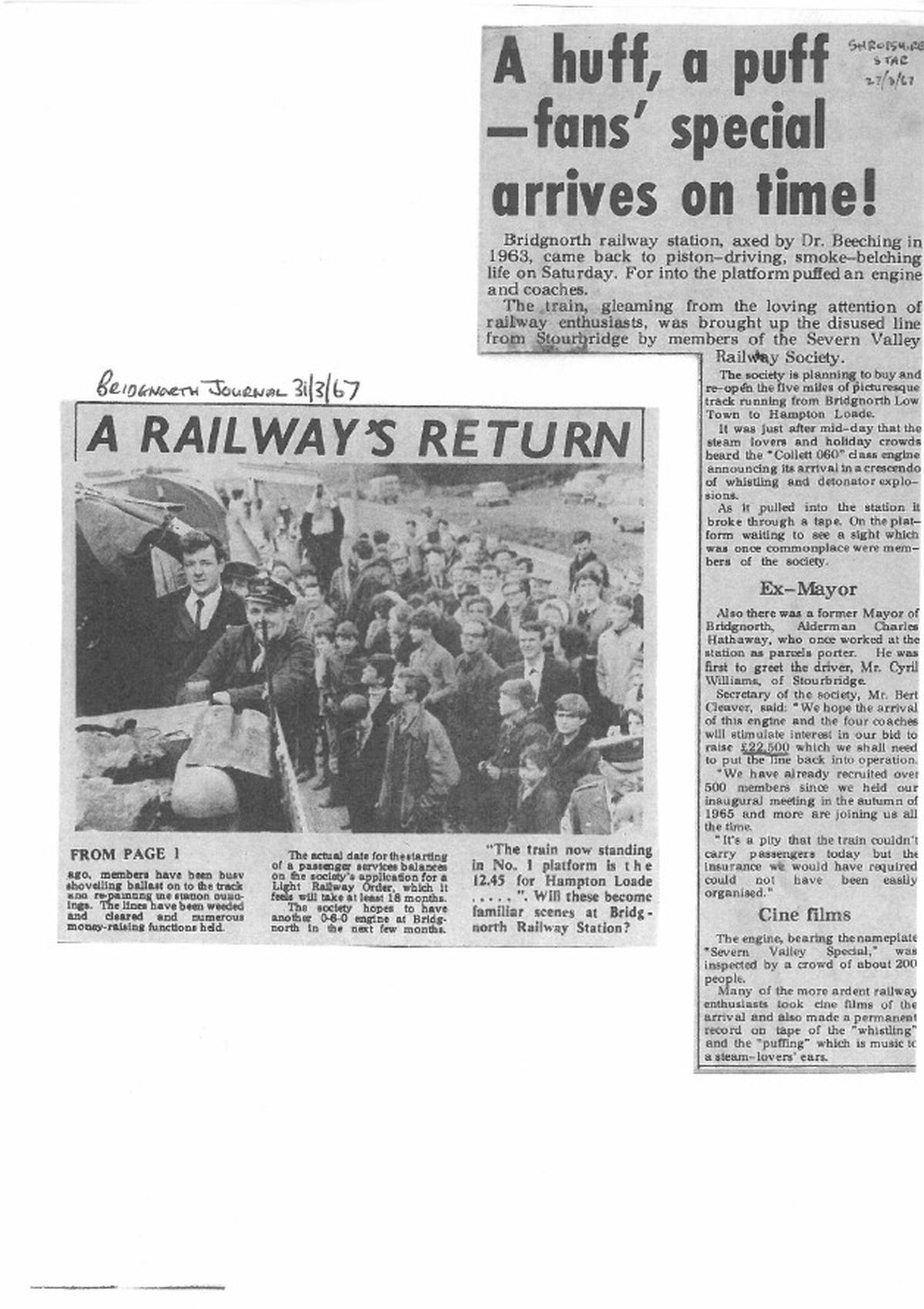 A newspaper articles marking the engine's arrival