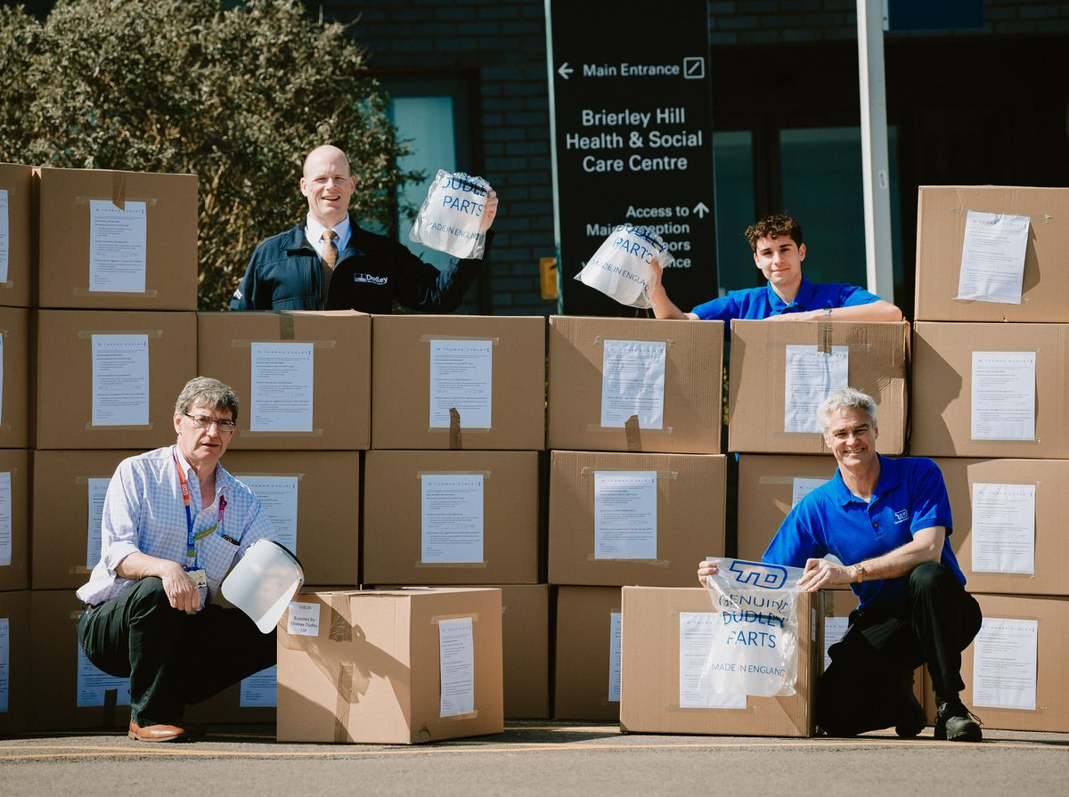 The first batch contained about 1,200 visors. From left to right: Neill Bucktin from Dudley CCG, Simon Boyes, innovation director at Thomas , Martin Kuziel and Martin Dudley (Thomas Dudley)