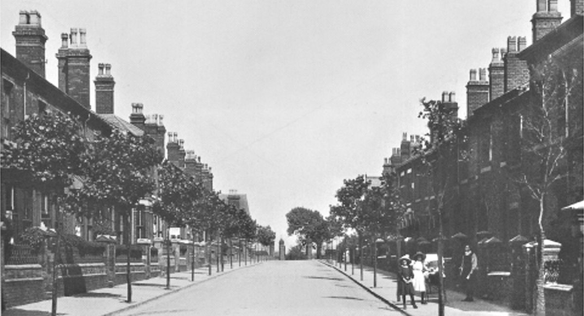 Herbert Street, West Bromwich, pictured in 1910, four years after Madeleine's birth. She lived in the first house on the left.