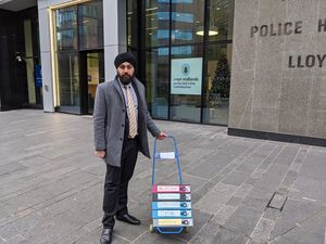 Jay Singh-Sohal with the petitions.