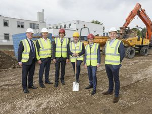 Gerard Ludlow from Stoford, Nick Oakley at FDC, James Morris MP, David Harbon from Sandvik Coromant, Andy Street and Angus Huntley from Stoford