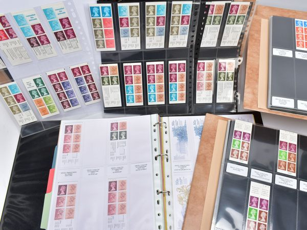 A large collection of decimal folded booklets housed across seven albums holds many rare philatelic errors and prized items.