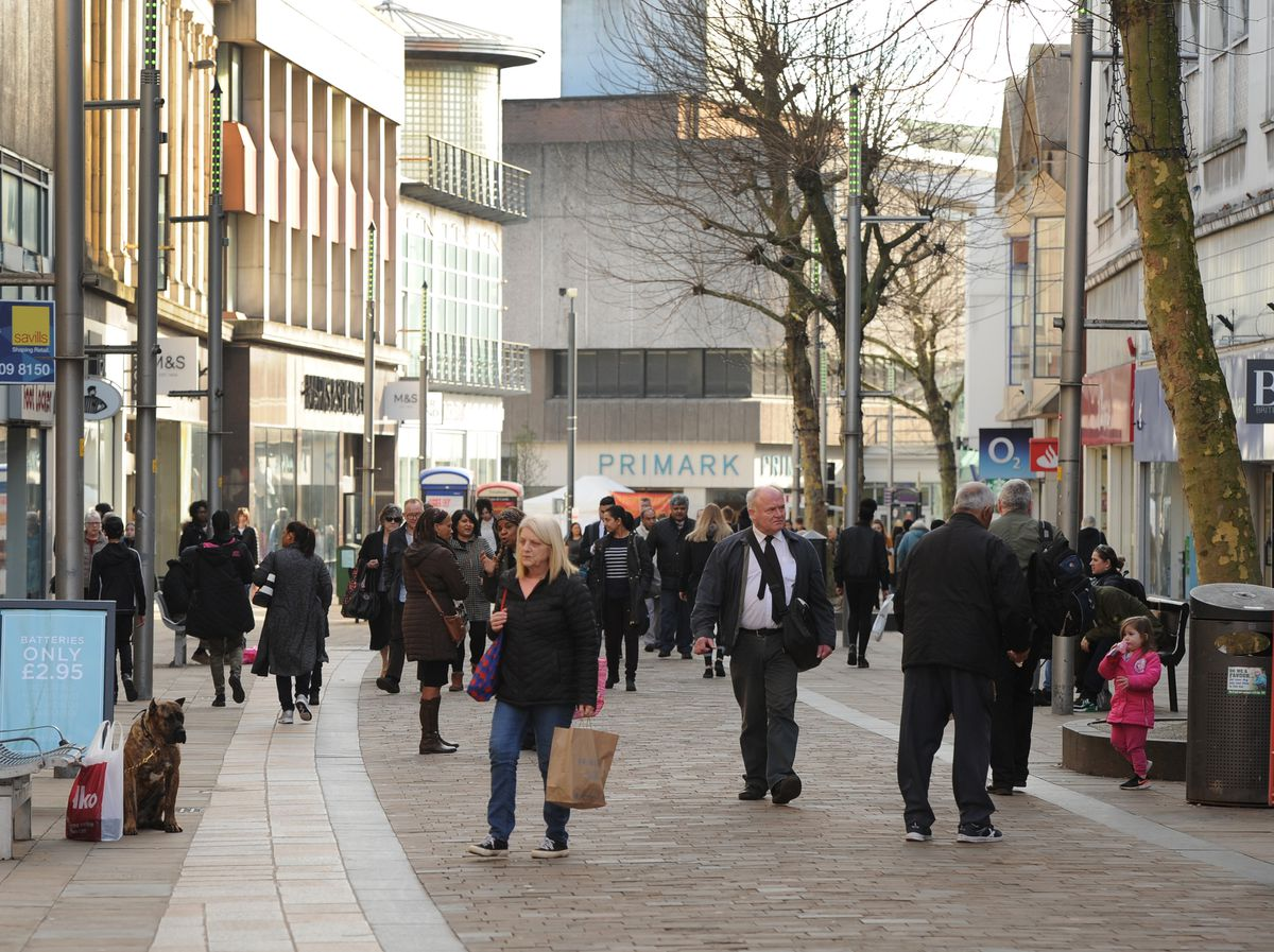 Shoppers in Dudley Street, Wolverhampton, which experienced the greatest impact in the region