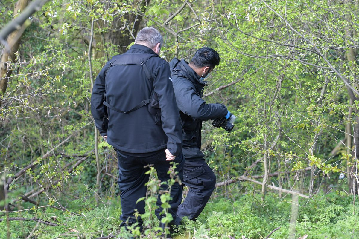 Police at the scene next to Junction 9 of the M6 where human remains were found. Photo: SnapperSK