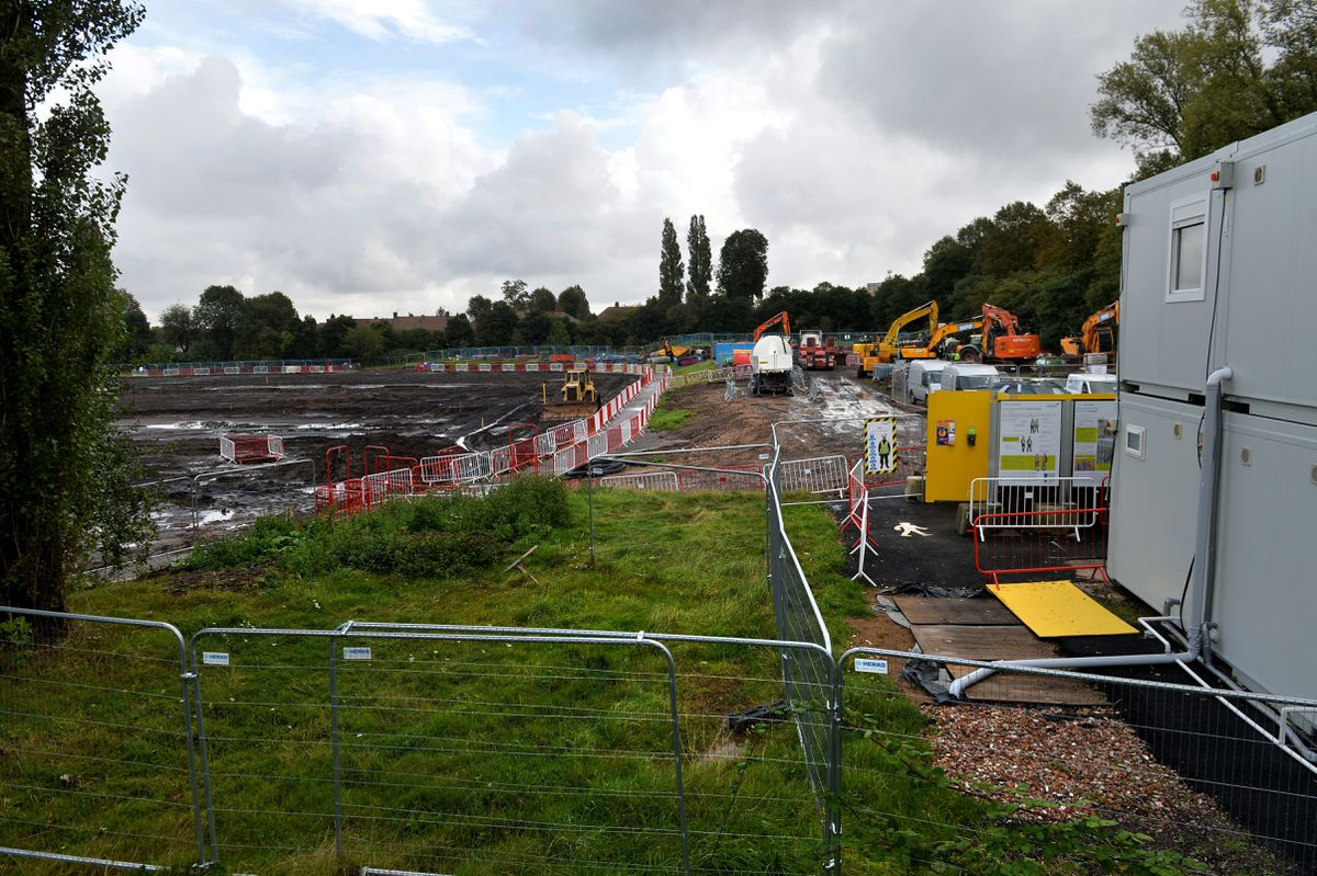 Work to clear the site for the Sandwell Aquatics Centre is under way on the playing fields off Londonderry Lane, Smethwick