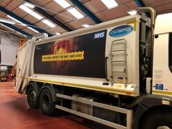 Safety message on bin lorry