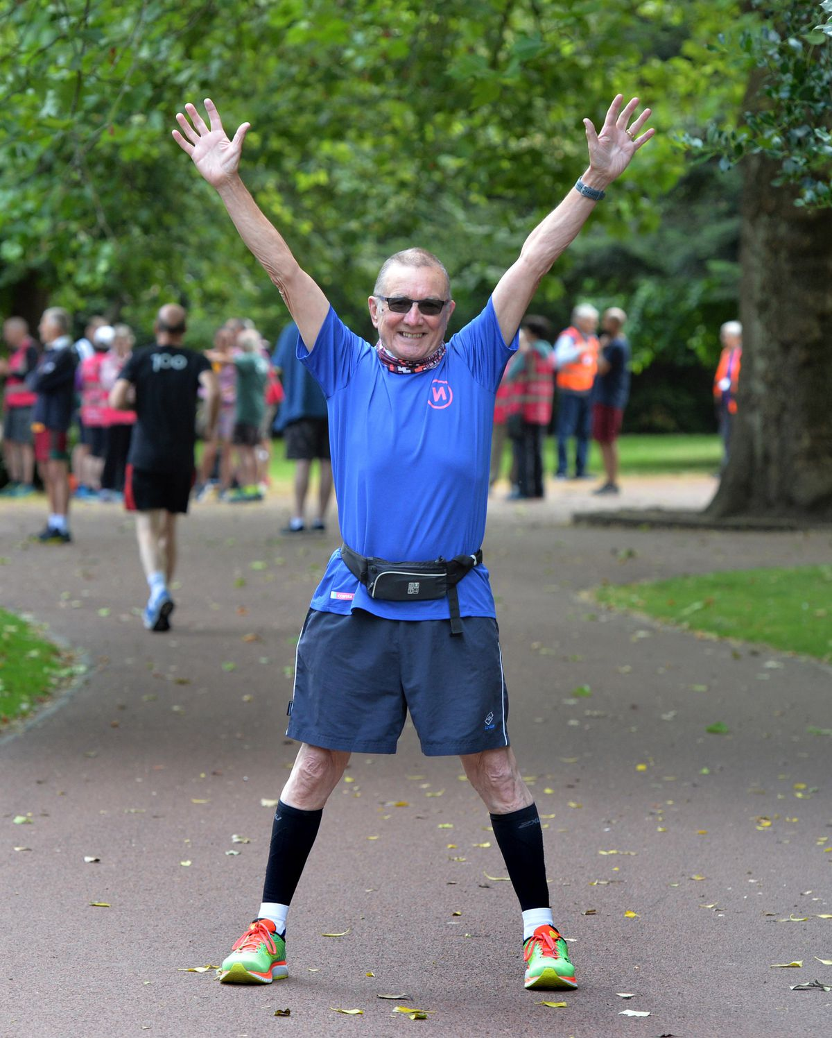Mike Hayward limbers up for the parkrun