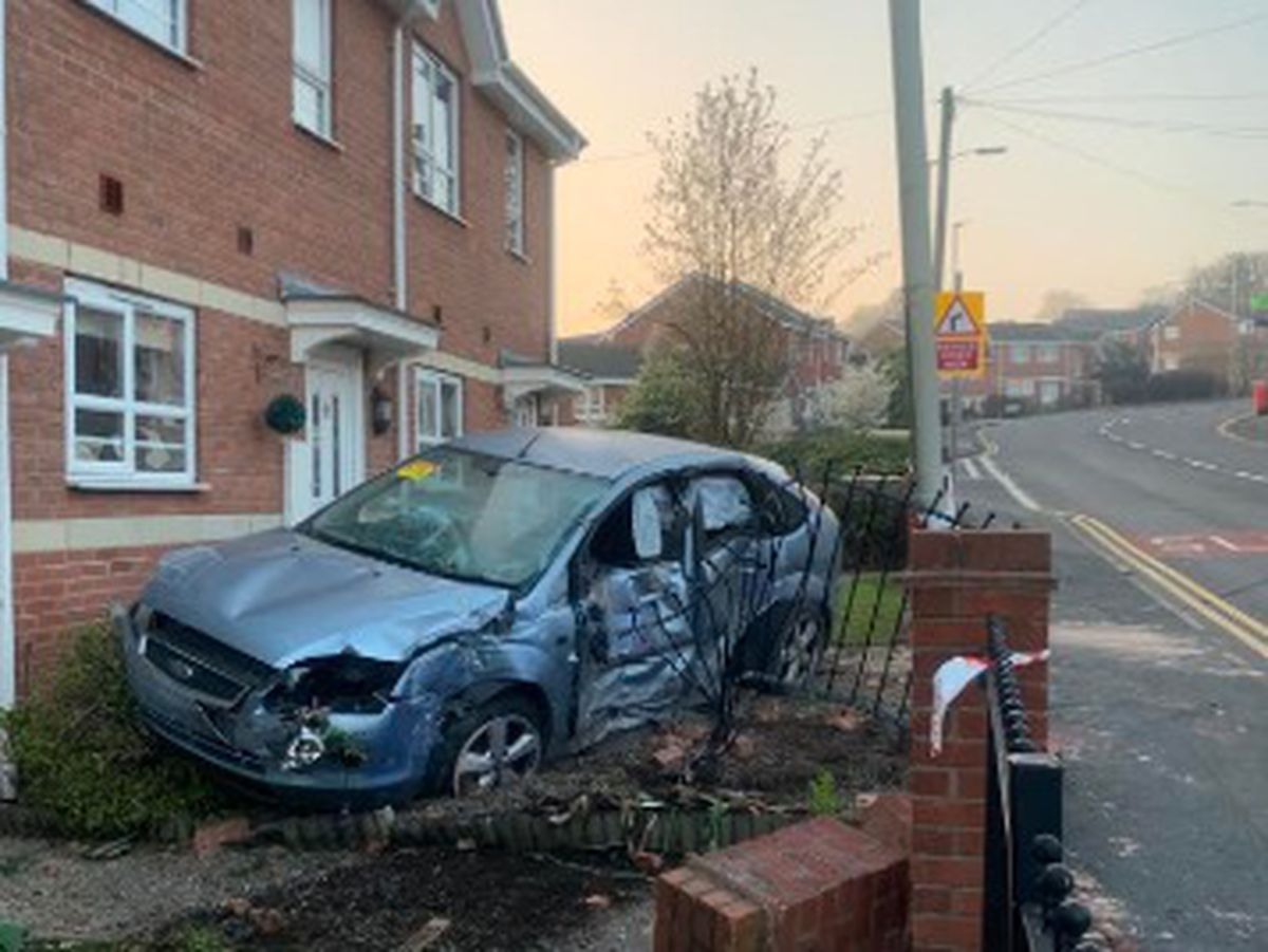 The damaged Ford Focus in the aftermath of the crash