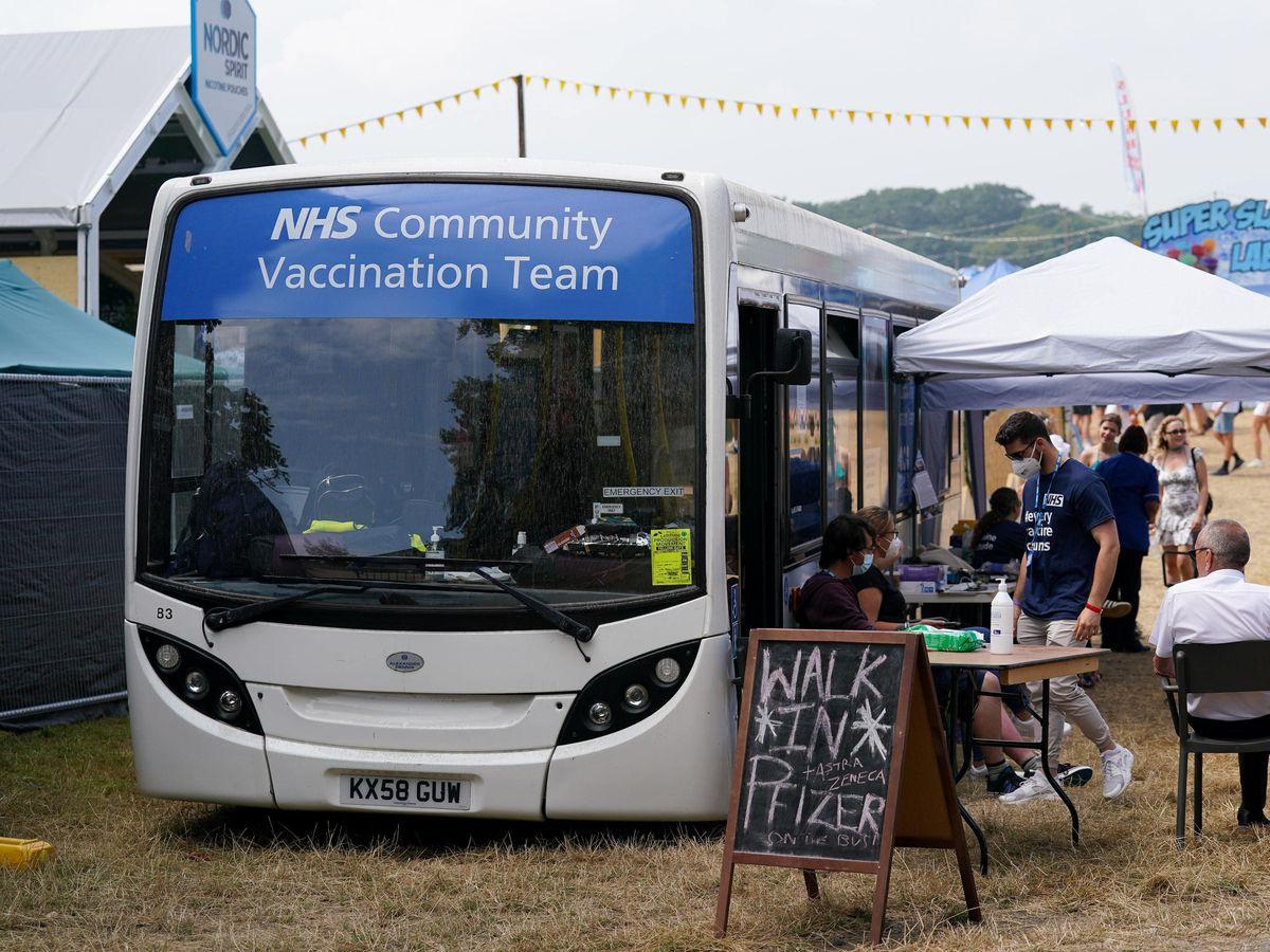 A Covid-19 vaccination bus at Latitude festival in Henham Park, Southwold, Suffolk