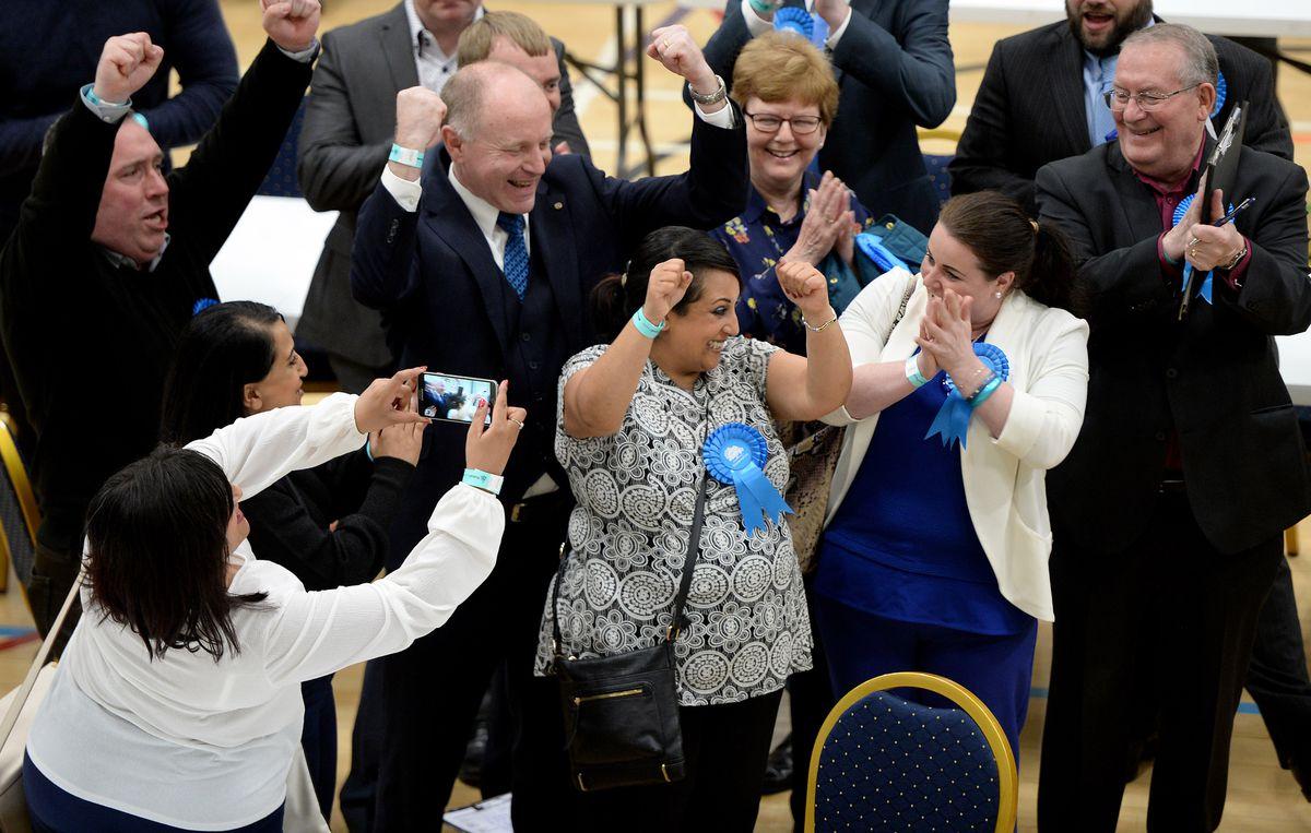 Bal Chatta celebrates winning Short Heath from UKIP
