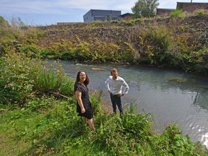 Andy Street on the banks of the River Stour with Delia Garratt, chief executive of The Wildlife Trust for Birmingham and the Black Country
