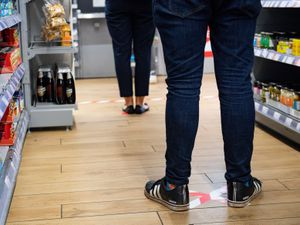 Social distancing and other Coronavirus precautions at a Co-op shop in Bromsgrove, Worcestershire.  PA Photo. Picture date: Friday April 3, 2020. See PA story HEALTH Coronavirus. Photo credit should read: Jacob King/PA Wire..