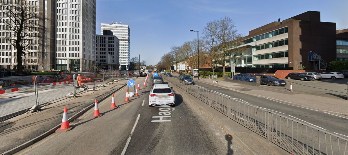 West Midlands Metro extension work in Hagley Road. Photo: Google