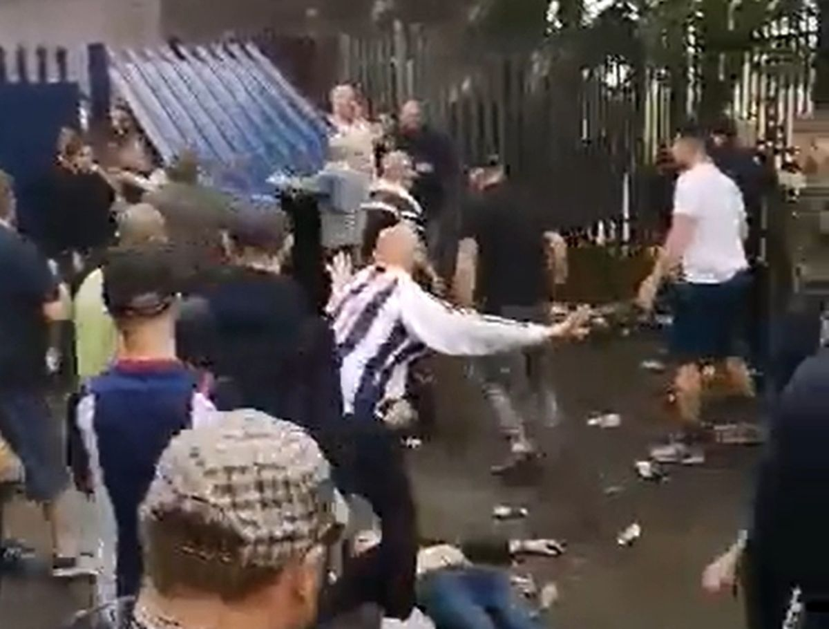 One man was lying motionless on the ground during the brawl. Photo: Twitter