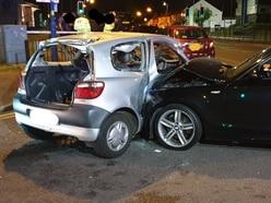 Man taken to hospital after two vehicle crash