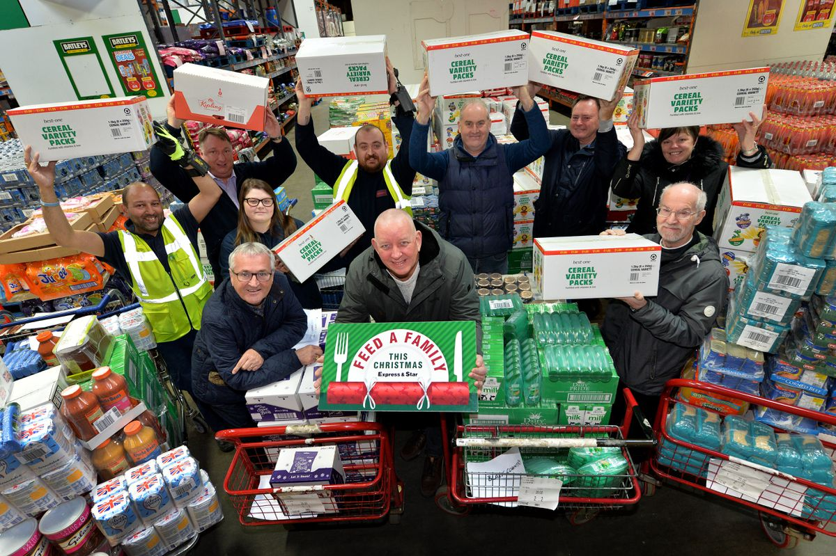 Former Goodyear workers have donated £4,000 of food and toiletries to our Feed a Family This Christmas appeal