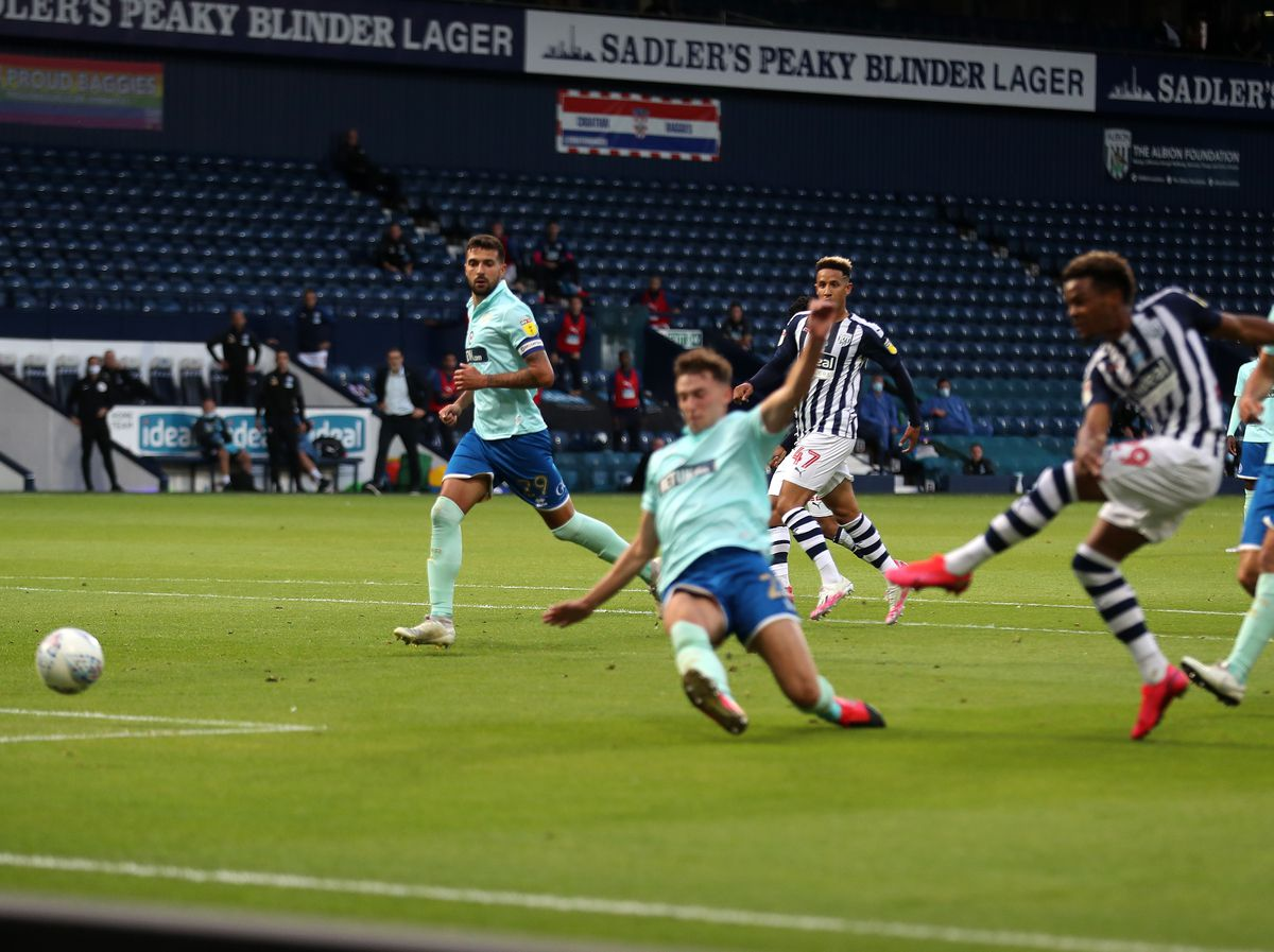 Grady Diangana of West Bromwich Albion scores a goal to make it 1-1