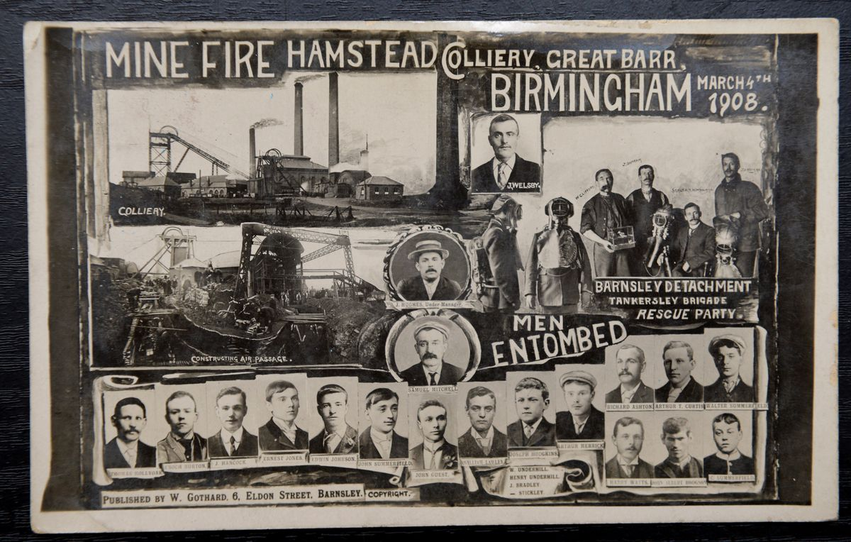 The card is a very rare original commemorating the 1908 Great Barr Colliery disaster