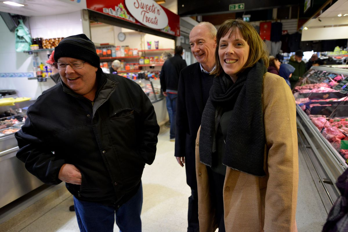 Labour leadership candidate Jess Phillips chats with a shopper during her visit.