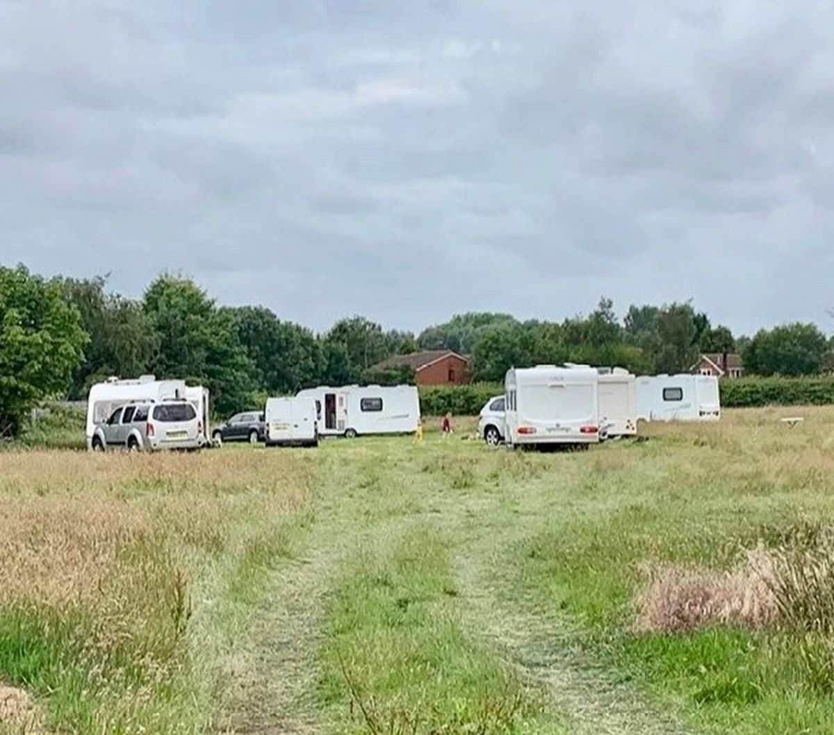 A traveller incursion on New Invention Junior School playing fields. Photo: Councillor Adam Hicken