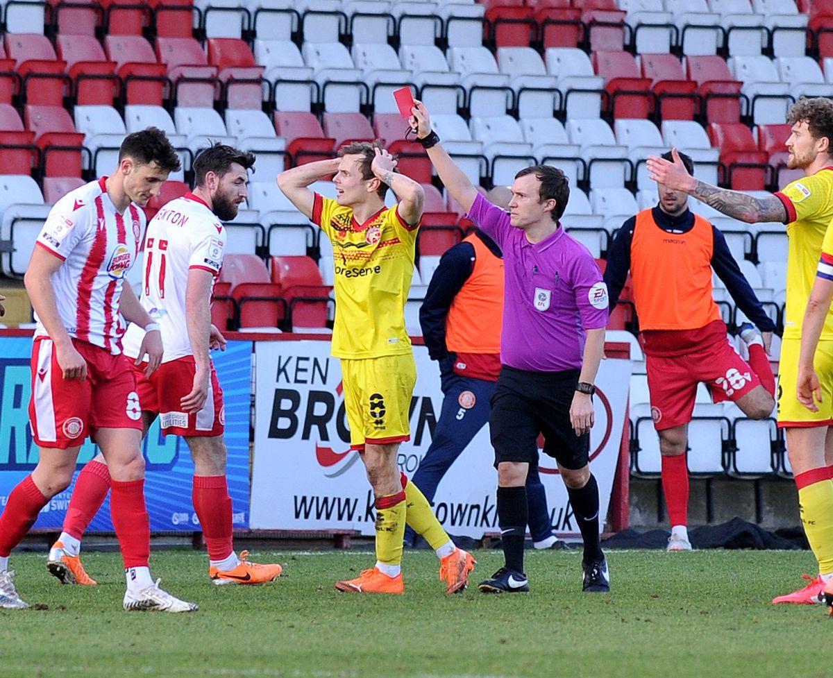 Liam Kinsella is sent off....