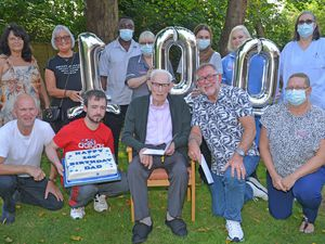 Leslie Beeston celebrates his 100th birthday at Himley Manor Care Home