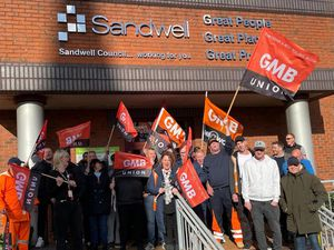 There was a protest outside Sandwell Council House