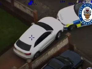 Police helicopter footage of the stolen Audi ramming a police car. Image: West Midlands Police