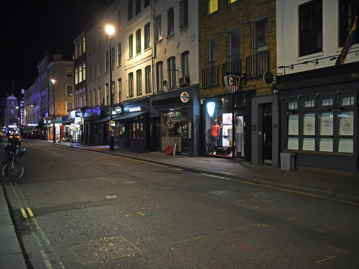 Soho in London after pubs and restaurants have closed due to the the 10pm curfew (Kirsty O'Connor/PA)