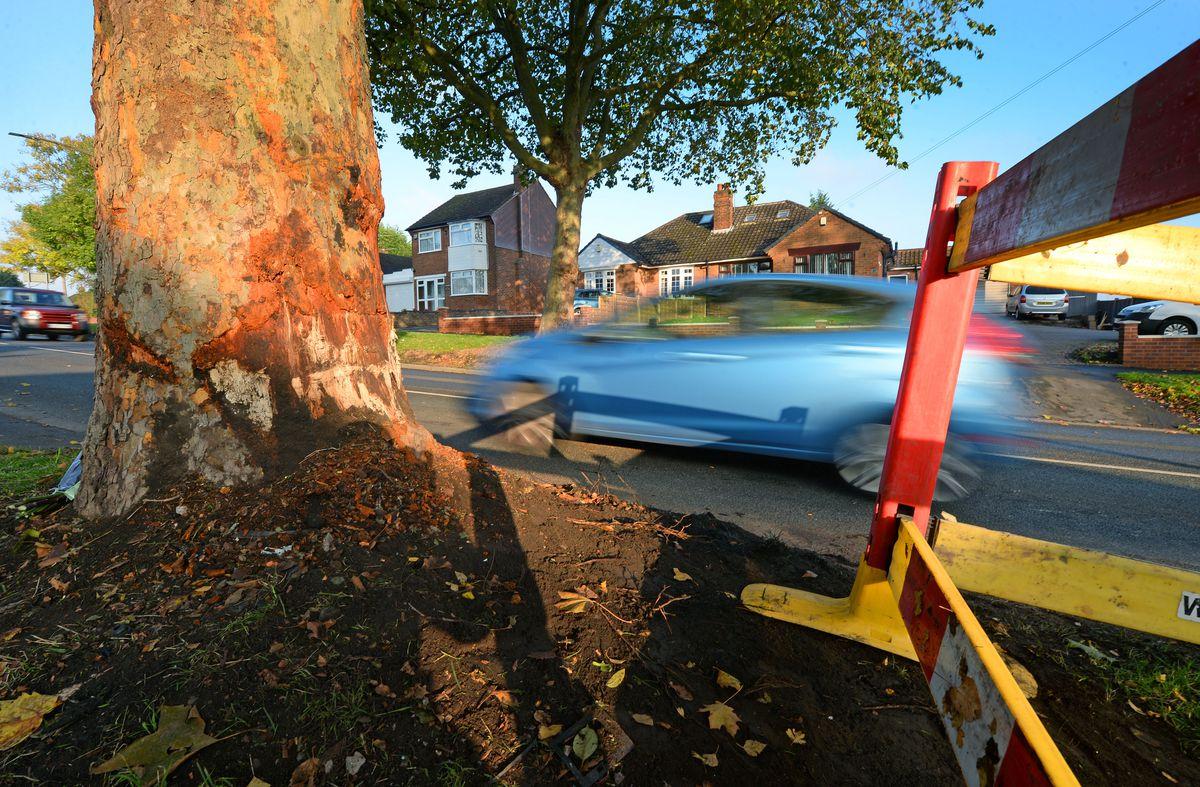 The scene in Bromley Lane on Wednesday morning