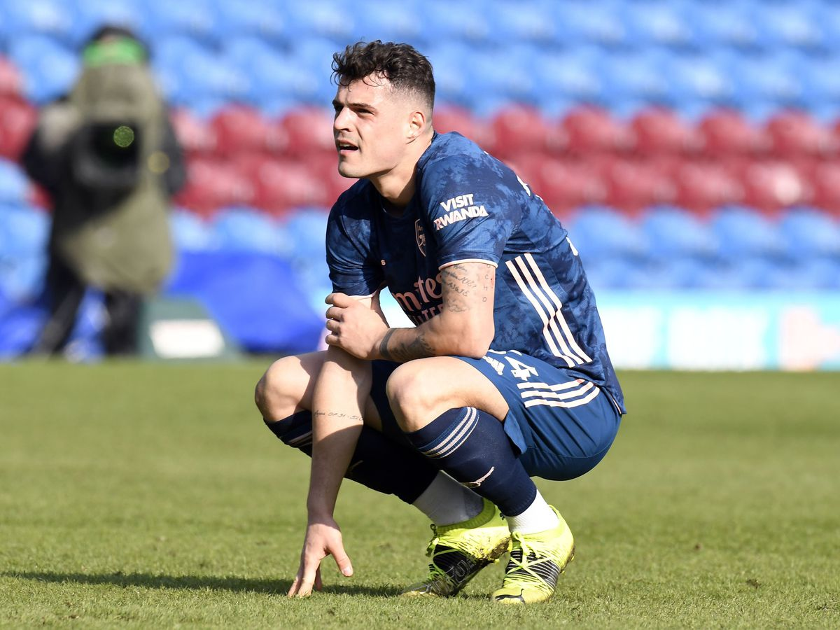 Granit Xhaka after his error gifted Burnley a goal