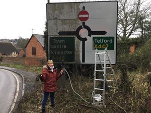 Dave Page and Shirley Rutter spent their Valntine's Day making their town a brighter place to be
