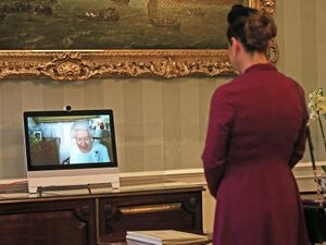 Queen holds a virtual audience with Sophie Katsarava, the Ambassador of Georgia. Yui Mok/PA Wire