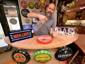 WALSALL COPYRIGHT TIM STURGESS EXPRESS AND STAR...... 24/09/2020...  The Dog house in Walsall has been selling lots of pub related items as people have been building bars in their back gardens during lockdown. Pictured, Drew Rutter 01922 630829. ...