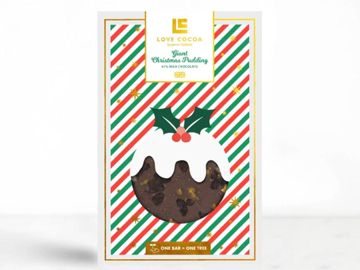 Love Cocoa Giant Christmas Pudding chocolate bar