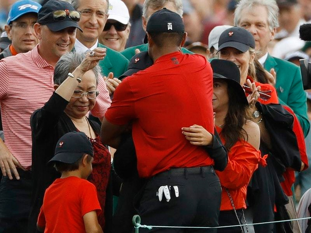 woods cannot hide his delight after celebrating masters