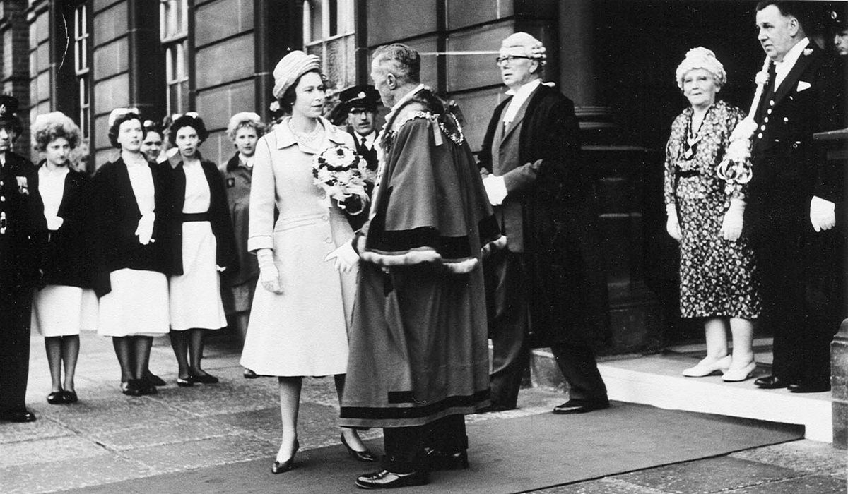 The queen on her visit to Wednesbury Town Hall in April 1962 chats to the Mayor Councillor Leonard Waldron with Town Clerk George Frederick Thompson to the right of the picture.