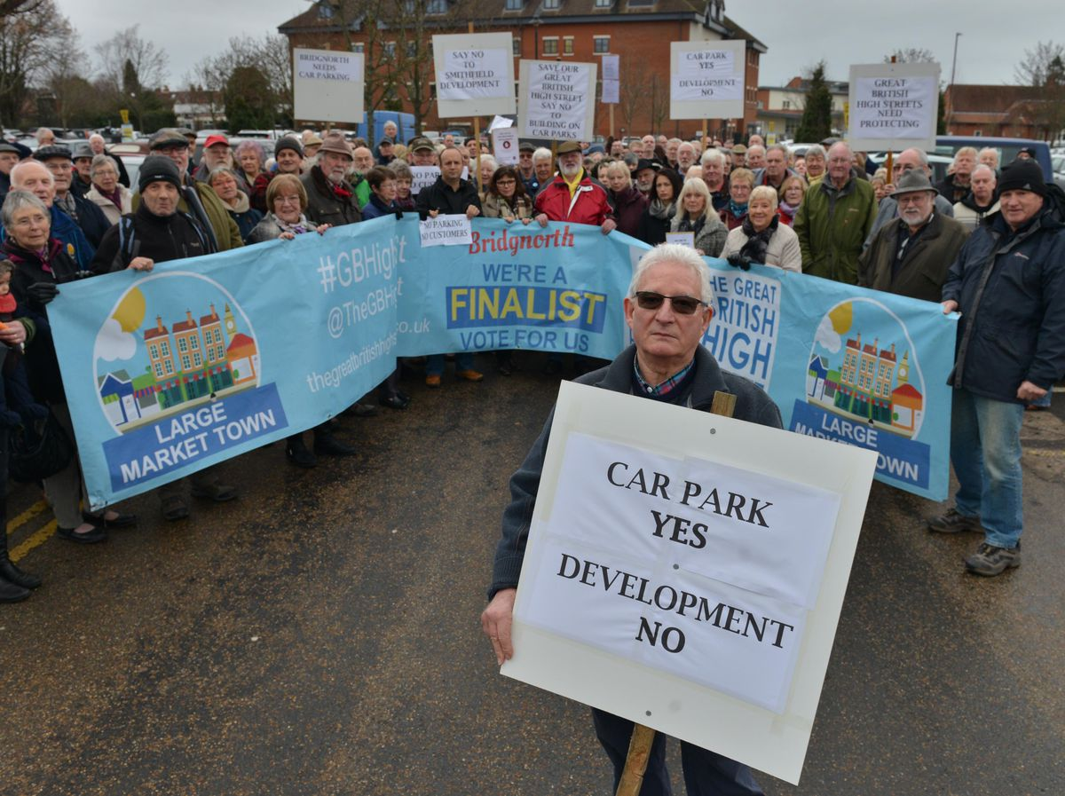 Former town councillor Adrian Tacchi during protests in 2017 over previous proposals for Old Smithfield Car Park
