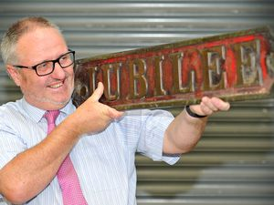 Mark Hannam from Fieldings with the Jubilee locomotive brass name plate due to be auctioned