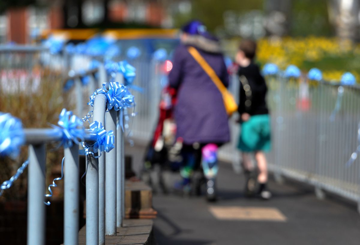 Blue ribbons adorn the streets in Brownhills